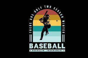baseball brooklyn tournoi couleur vert jaune et rouge vecteur