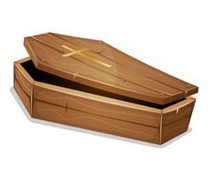Cercueil en bois avec croix chrétienne