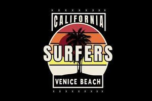 californie surfeurs venise plage couleur orange et jaune vecteur