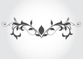 Élément de design floral noir et blanc