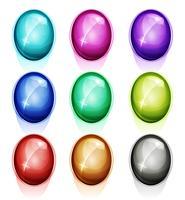 Gemmes arrondies, icônes de diamants et boutons