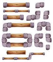 Eléments de design en pierre et bois pour le jeu de plateforme Ui vecteur