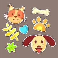 autocollants chat et chien vecteur
