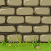 Mur de pierre rural dessin animé vecteur