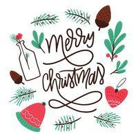 Feuilles mignonnes, boules, noix et lettrage à propos de Noël vecteur