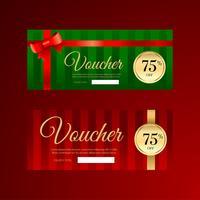 Modèles de chèques cadeaux de ruban de Noël vecteur