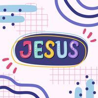 Jésus lettrage de vecteur