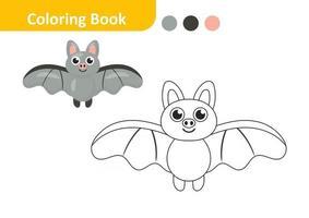 livre de coloriage pour les enfants, vecteur de chauve-souris