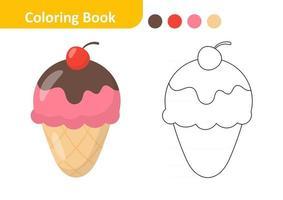 livre de coloriage pour les enfants, vecteur de crème glacée