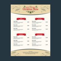Modèle de menu de dîner de Noël vecteur