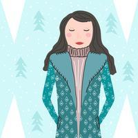 Portrait de modèle en hiver à l'extérieur