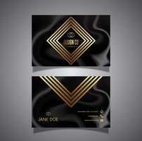 Carte de visite élégante en marbre noir et or
