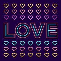 Amour signe néon mot avec coeur sur fond sombre vecteur