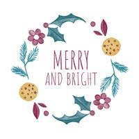 Couronne de Noël mignonne avec des biscuits, des feuilles et des fleurs vecteur