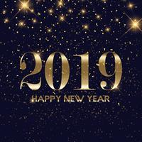 Fond de bonne année confettis or