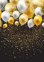 Fond de célébration avec des ballons et des confettis vecteur