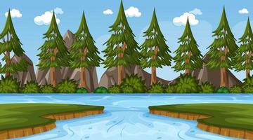 scène de fond avec rivière dans la forêt de pins vecteur