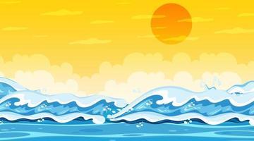 paysage de plage au coucher du soleil avec la vague de l'océan vecteur