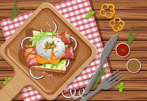 brunch ou plat de petit-déjeuner en style dessin animé sur la table vecteur