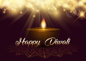 Fond de Diwali avec lumières de bokeh et lampe à huile
