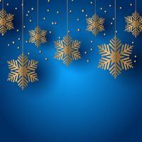 Fond de Noël avec des flocons de neige suspendus vecteur