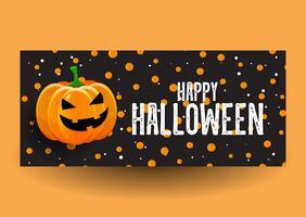 Bannière Halloween avec citrouille vecteur