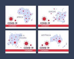 infographie avec les continents de la planète terre touchés par le coronavirus vecteur