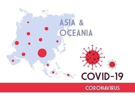 carte asie et océanie avec la propagation du covid 19 vecteur