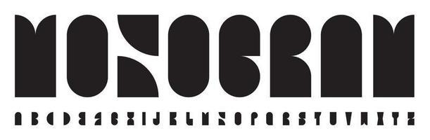monogramme logo polices abstrait alphabet bauhaus. lettres de trou de serrure de forme géométrique noire pour le logo, le titre, le lettrage créatif dans la brochure, le livre, l'affiche, la bannière. conception typographique vectorielle monumentale haute vecteur