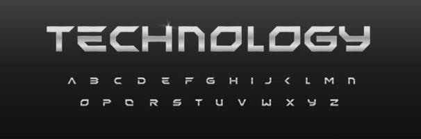 alphabet géométrique en métal, conception de polices en fer, lettres effet chrome. composition en acier pour le titre et le logo futuriste. design argenté minimal du sport, de la salle de sport, de la voiture, de l'automobile, de la technologie, de l'espace et de la science-fiction vecteur