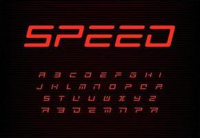 jeu de lettres de vitesse. alphabet de vecteur automatique rouge. police de titre automobile. abc de style dynamique, monogramme de puissance sportive et modèle d'affiche. conception de typographie