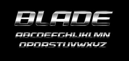 jeu de lettres de lame. texture en métal poli, alphabet de couleur chrome et argent. police italique audacieuse, style fort et rapide, idéal pour le sport et l'automobile. typographie vectorielle vecteur