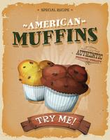 Affiche de muffins américains grunge et vintage vecteur
