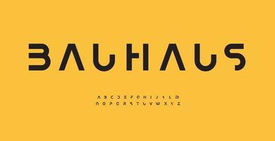 police de lettre de l'alphabet bauhaus. typographie de logo moderne. conception typographique vectorielle recadrée minimale. type de découpe pour logo futuriste, titre, titre, monogramme, lettrage, image de marque, habillement, marchandise vecteur