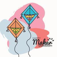 Cerfs-volants Makar Sankranti Doodled