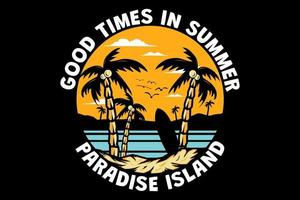 t-shirt bons moments en été paradis île plage dessinés à la main rétro style vintage vecteur