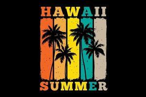 tee shirt hawaii été palmier coucher de soleil couleur rétro style vintage vecteur