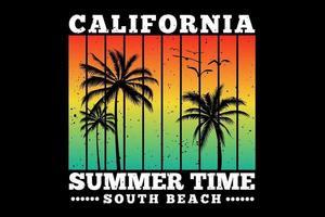 t-shirt californie heure d'été plage sud coucher de soleil couleur rétro style vintage vecteur