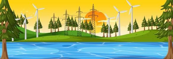 scène horizontale de la nature au coucher du soleil avec de nombreuses éoliennes vecteur