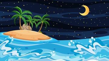 paysage de plage à la scène de nuit avec île vecteur