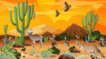 paysage de forêt du désert au coucher du soleil avec des animaux sauvages vecteur