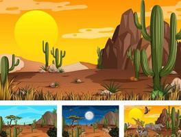 différentes scènes de paysage de forêt désertique avec des animaux et des plantes vecteur