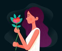 Fille avec des fleurs vecteur