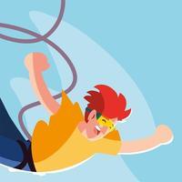 homme sautant avec une corde, sport extrême vecteur