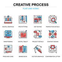 Processus créatif Icons Set vecteur