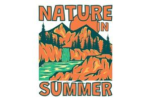 t-shirt nature en été montagne arbre dessiné à la main rétro style vintage vecteur