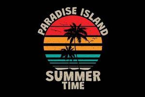 t-shirt île paradisiaque heure d'été rétro style vintage vecteur
