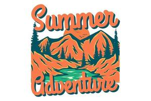t-shirt aventure d'été arbres de montagne dessinés à la main style vintage rétro vecteur