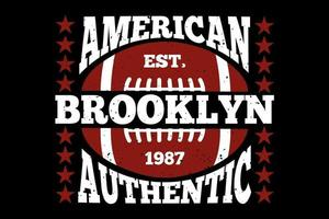 tee shirt typographie americain brooklyn authentique football vecteur