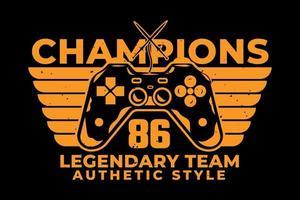 t-shirt typographie champions équipe légendaire style authentique vecteur